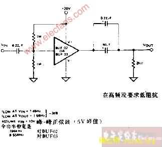 单电源交流缓冲器(高速)电路图