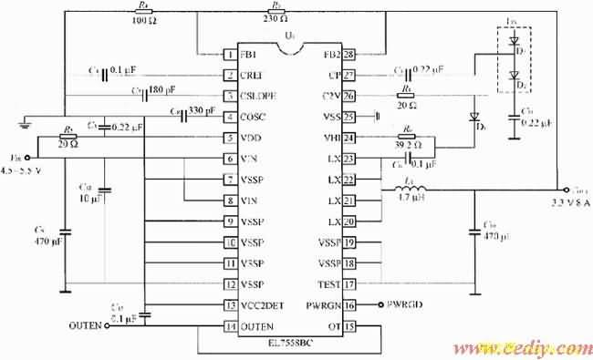 下面以EL7558BCDC/DC变换器芯片为例,对DC/DC变换器的设计过程进行详细说明。其典型设计电路如图1所示。   2.1 选择输出电压   EL7558BCDC/DC变换器芯片可以通过VCC2DET脚设置固定电压(3.5V)输出或者可调电压(1.0~3.8V)输出。当VCC2DET为高时为固定电压输出;当VCC2DET为低时为可调电压输出,此时要想得到不同的电压输出,可以通过反馈电阻R3及R4来调节,可调输出电压范围为1.