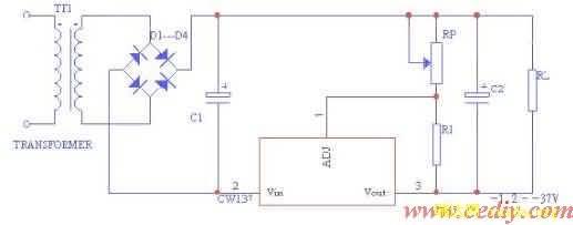 cw137为三端可调负输出集成稳压器